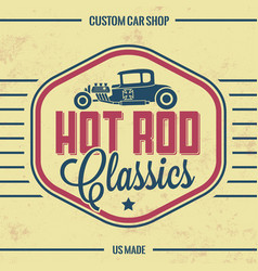 Retro hot rod poster vintage design vector