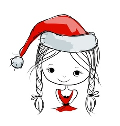 Santa girl portrait sketch for your design vector image vector image