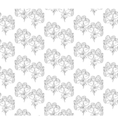 Seamless black and white pattern of roses vector