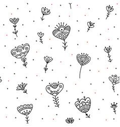 Seamless pattern with ethnic flowers minimal vector