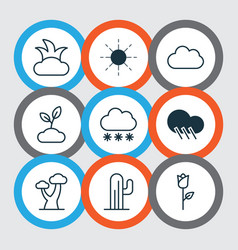 Set of 9 harmony icons includes bush snowstorm vector