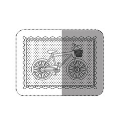 Sticker contour frame of bicycle with background vector