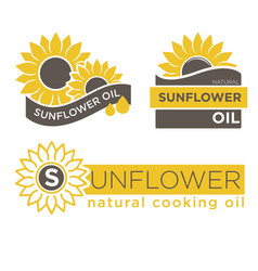 Sunflower natural oil product label vector