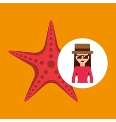 Toursit female hat sunglasses starfish vector