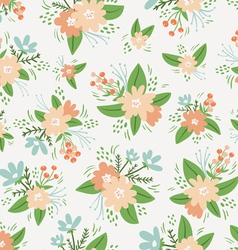 Vintage floral compositions seamless pattern vector image