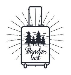 Wanderlust hand drawn mountain adventure label vector
