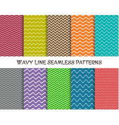 wavy line seamless patterns vector image vector image