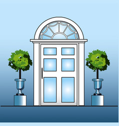 white door with topiary vector image vector image