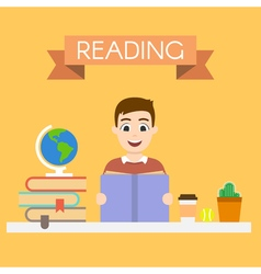 young handsome man reading a book vector image vector image
