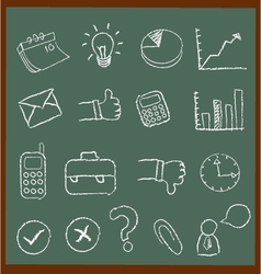 Chalkboard Business Icons vector image