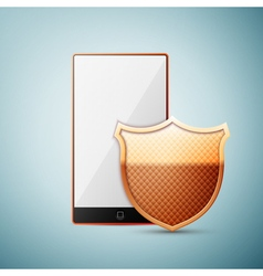 Smartphone with security shield icon isolated on vector