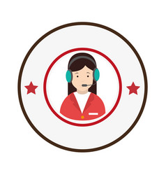 colorful circular emblem with female customer vector image