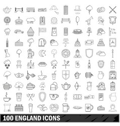 100 england icons set outline style vector image