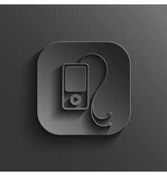 Mp3 player icon - black app button vector