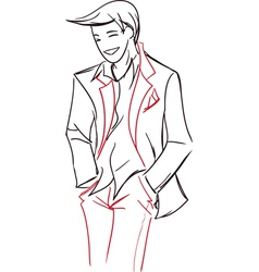 Symbolic bridegroom in a light jacket vector