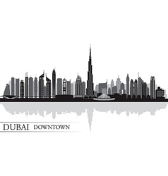 Dubai Downtown City skyline silhouette background vector image