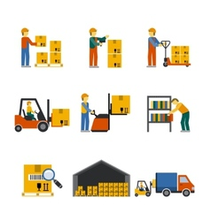 Warehouse icon flat vector