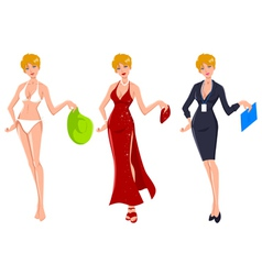 Blond in three different occasions vector