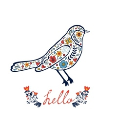 Concept hello card with floral decorative bird vector