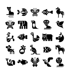 black and white animal icon set vector image