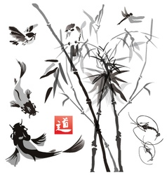 Stencils birds fish and plants in the eastern vector