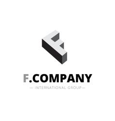 Isometric monochrome f letter logo company vector
