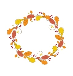 Autumnal wreath abstract circle frame with vector