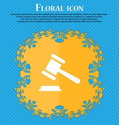 Judge or auction hammer icon floral flat design on vector