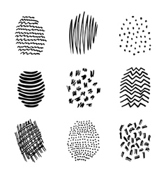 Set of 9 hatching hand drawn vector