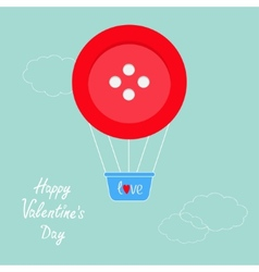 Big red button hot air balloon Dash line clouds vector image vector image