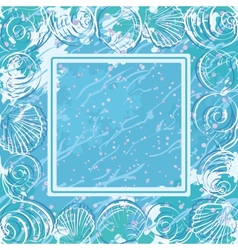 Contour marine seashells and frame vector