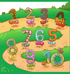 Counting number one to ten with ants vector