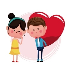 Couple loving giving big red heart vector