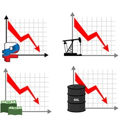Falling rates of rouble and oil Red down arrow vector image