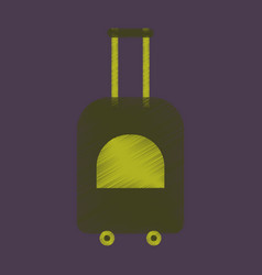 Flat icon in shading style suitcase on wheels vector