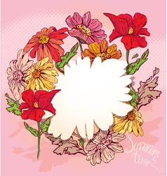 Floral Background with hand drawn flowers vector image vector image