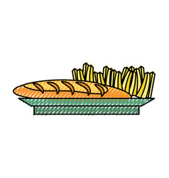 French fries and bread vector