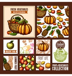 Fruits and vegetables cards vector