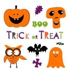 Fun halloween set with pumpkin owl bat ghost vector
