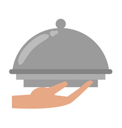 Hand tray catering service vector