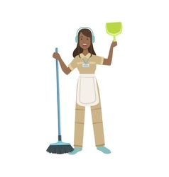 Hotel professional maid with dustpan and broom vector
