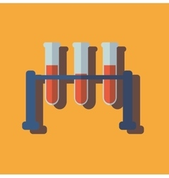 Medical test tube with blood flat design vector image