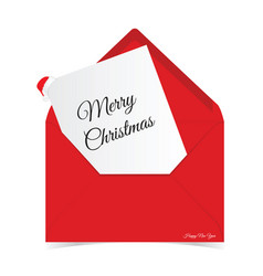 merry christmas in red letter envelope vector image vector image