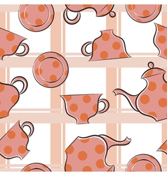 Seamless texture with cups and coffee pot vector image
