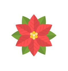 simple poinsettia icon flat design vector image vector image