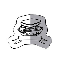 Sticker black contour of sandwich with ribbon vector