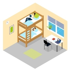 Student room isometric composition vector