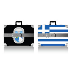 Vintage suitcase set with greece flag vector