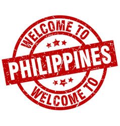 Welcome to philippines red stamp vector