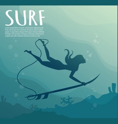 Young girl - surfer with surf board dive vector